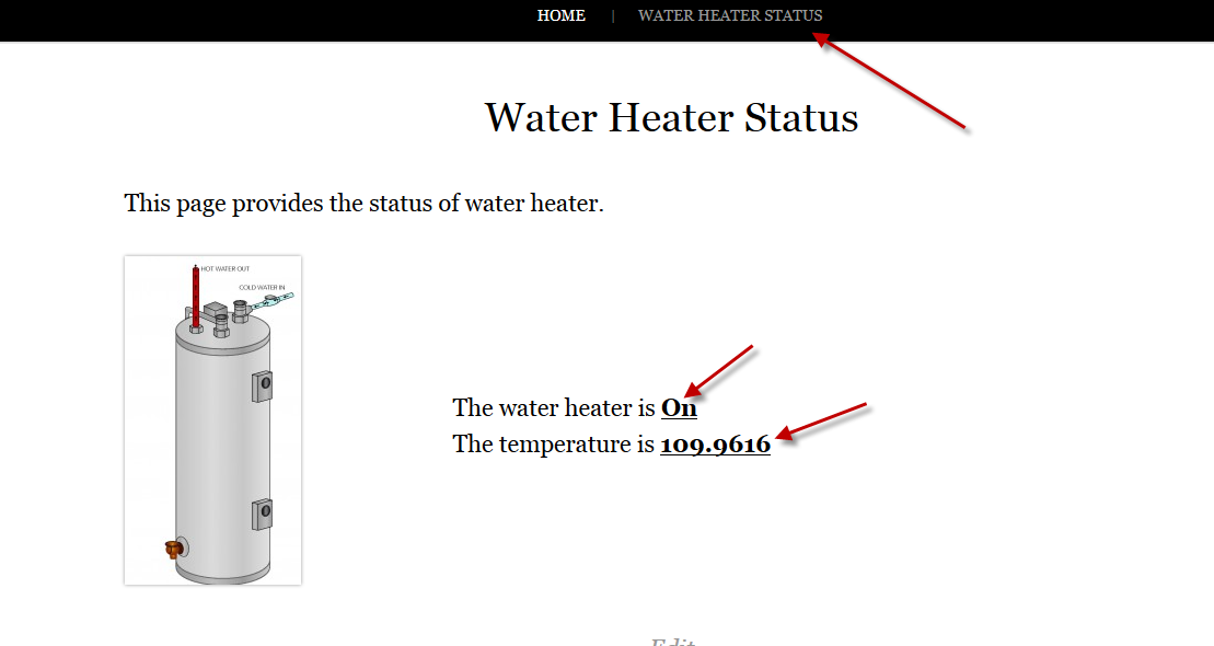 Tinker Labz - Home Intelligence Management System Water Heater Status